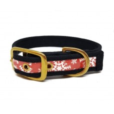 """Red Snowflakes wear resistant fabric buckle collar 25mm - 15-18"""""""